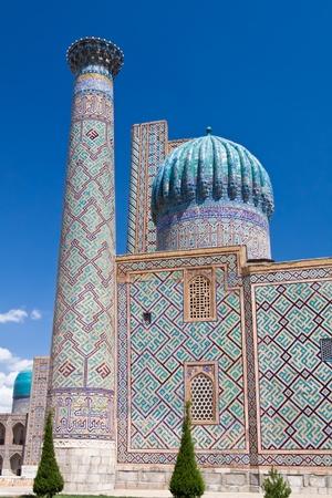 Famous Sher Dor Madrasah is situated at the Registan Plaza of Samarkand Reklamní fotografie