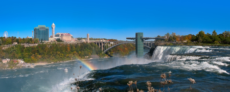 Panoramic view of  Niagara falls and Rainbow Bridge, sight from the united states