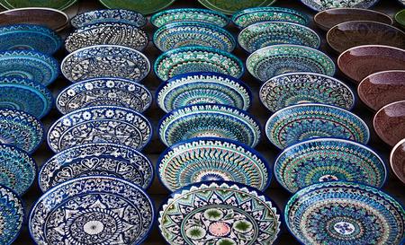 Background of ceramic plates, Bukhara market, Uzbekistan Reklamní fotografie