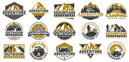 Set of Adventure and outdoor vintage logo template, badge or emblem style