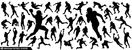 American Football Players Silhouettes , vector pack, various pose set Vectores