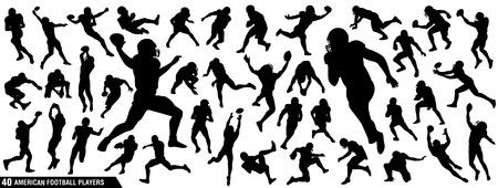Siluetas de jugadores de fútbol americano, paquete de vectores, conjunto de varias poses