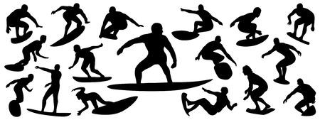 Silueta de surf, conjunto de vectores de silueta de surfista, paquete de vectores de surf Ilustración de vector