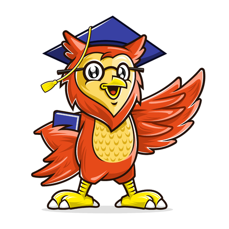 Education mascot, Owl mascot character wearing glasses and graduation cap holding book 向量圖像