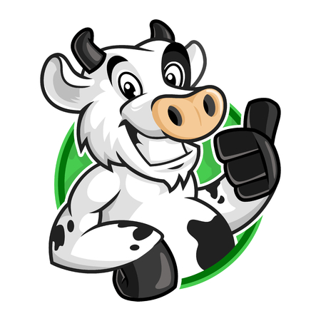 Cow mascot logo, vector cartoon of cow character for logo template Illustration