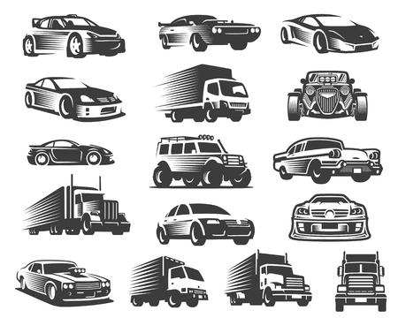 Diversi tipi di set di illustrazioni per auto, collezione di simboli per auto, pacchetto di icone per auto Vettoriali