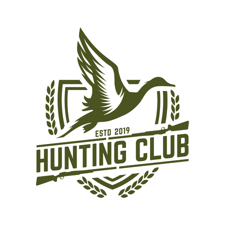 Hunting logo, hunt badge or emblem for hunting club or sport, duck hunting stamp Çizim