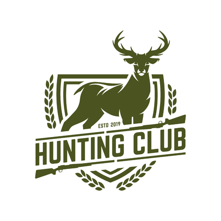 Logo di caccia, distintivo di caccia o emblema per club di caccia o sport, timbro di caccia al cervo
