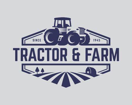 Logo del trattore o modello di logo dell'azienda agricola, adatto a qualsiasi attività legata alle industrie agricole. Look semplice e retrò.