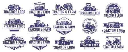 15 vector set of Tractor logo or farm logo template collection, suitable for any business related to farm industries. Simple and retro look. 일러스트