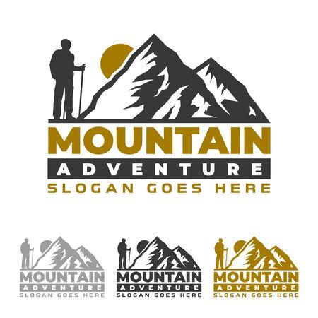 산 로고, 캠핑 및 하이킹 엠블럼 디자인, 모험 생활