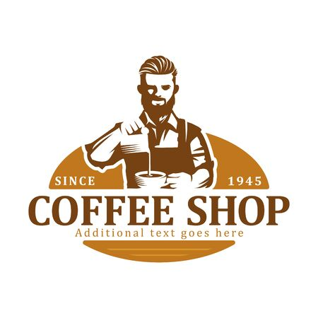 Coffee logo, vector coffee label badge or emblem on isolated white background, cafe