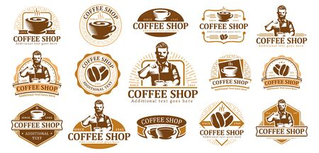 Set of Coffee logo, vector coffee label badge or emblem pack, cafe label collection