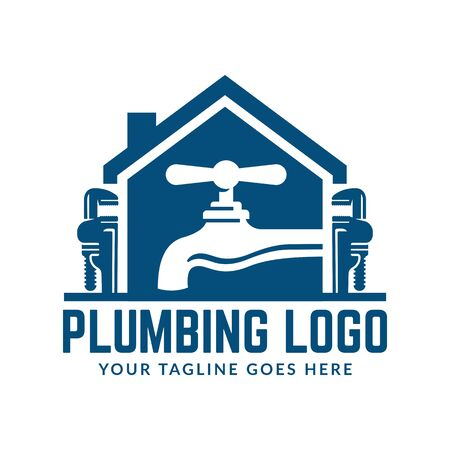 Plumbing logo template with retro or vintage style, perfect for your plumbing company brand Logo