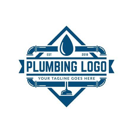 Plantilla de logotipo de plomería con estilo retro o vintage, perfecta para la marca de su empresa de plomería