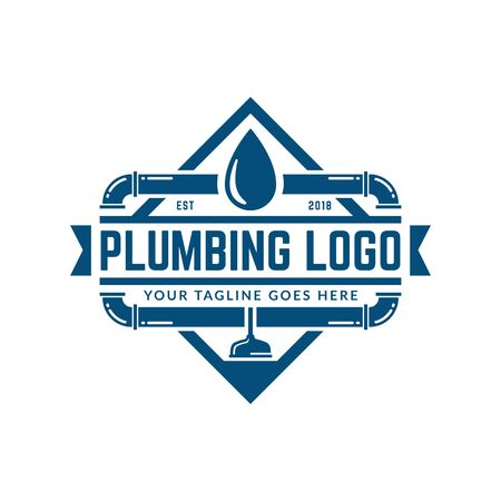Plumbing logo template with retro or vintage style, perfect for your plumbing company brand Stock Illustratie