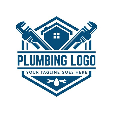 Plumbing logo template with retro or vintage style, perfect for your plumbing company brand Vettoriali