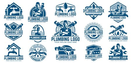 15 Plumbing logo template pack, with retro or vintage style, easy to customize