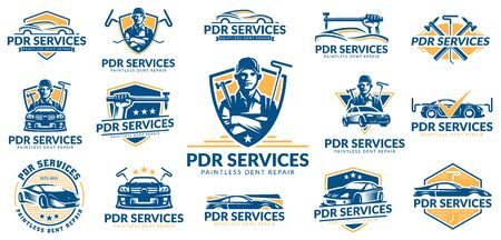 Paintless Dent Repair logo set, PDR service logo pack, vector collection