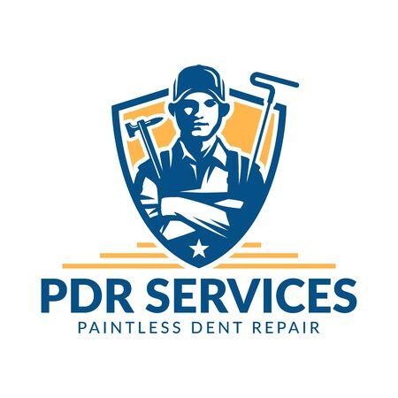 Paintless Dent Repair logo, PDR service logo, automotive company Stock fotó - 129794536
