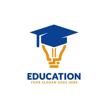 Education logo design template, bulb with graduation cap icon stylized, perfect or educational industry