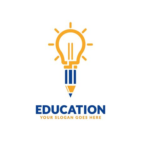 Education logo design template, bulb with pencil icon stylized, perfect or educational industry