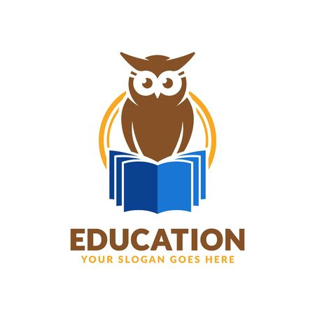 Education logo design template, book and owl icon stylized, perfect or educational industry