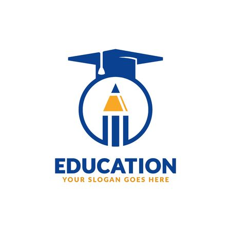 Education logo design template, pencil and graduation cap icon stylized, perfect or educational industry Stock fotó - 129794558