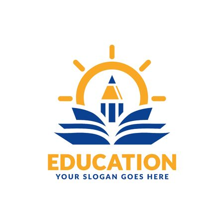 Education logo design template, pencil and book icon stylized, perfect or educational industry
