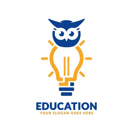 Education logo design template, bulb and owl icon stylized, perfect or educational industry