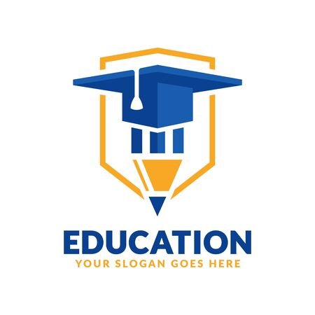 Education logo design template, pencil and graduation cap icon stylized, perfect or educational industry