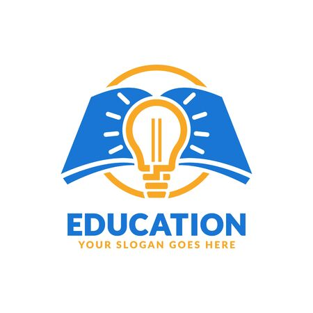 Education logo design template, book and bulb icon stylized, perfect or educational industry Illustration
