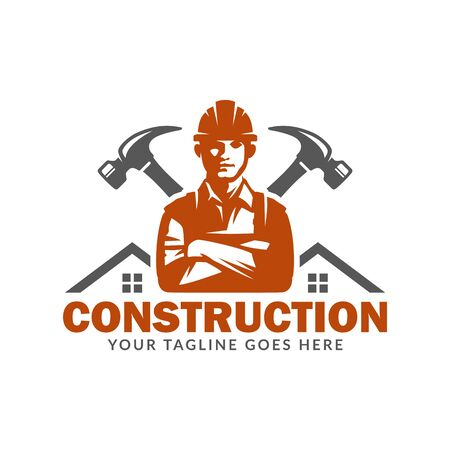Construction logo template, suitable for construction company brand, vector format and easy to edit Çizim