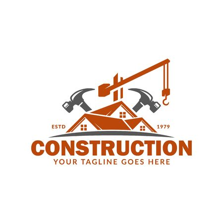 Construction logo template, suitable for construction company brand, vector format and easy to edit Ilustracja