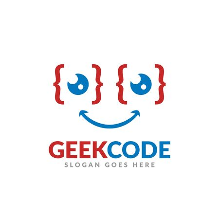 Geek code logo design template, a glasses with code symbol and icon Illustration