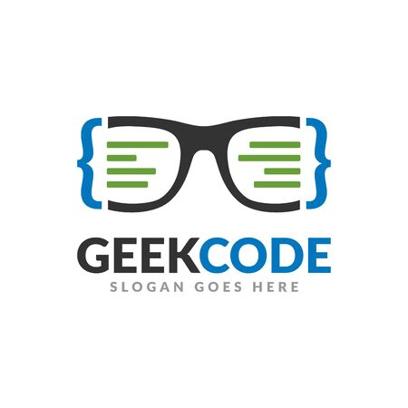 Geek code logo design template, a glasses with code symbol and text icon Banque d'images - 129794596