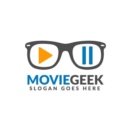 Movie geek logo design template, glasses with play and pause button on it