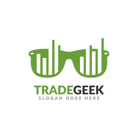 Trade geek logo design template. a glasses with bar chart on it, perfect for trading business