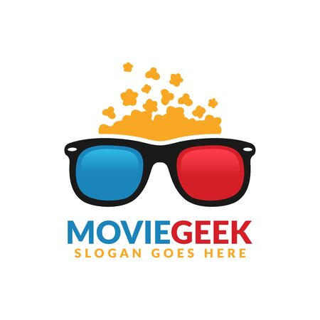 Movie geek logo design template, 3D glasses with popcorn above it
