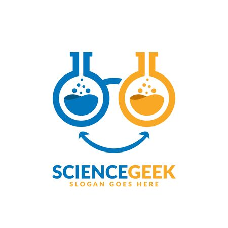 Science geek logo design template, two lab beakers as glasses lenses Logo