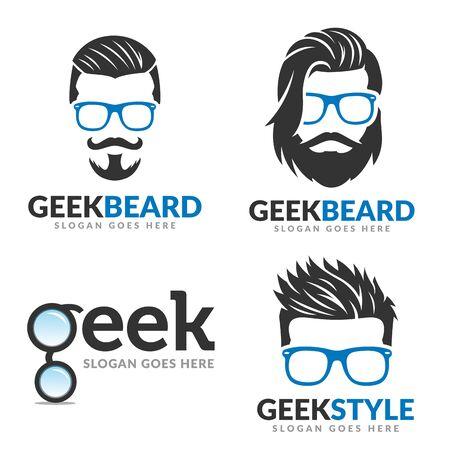 Set of Beard geek logo template, geek logo pack