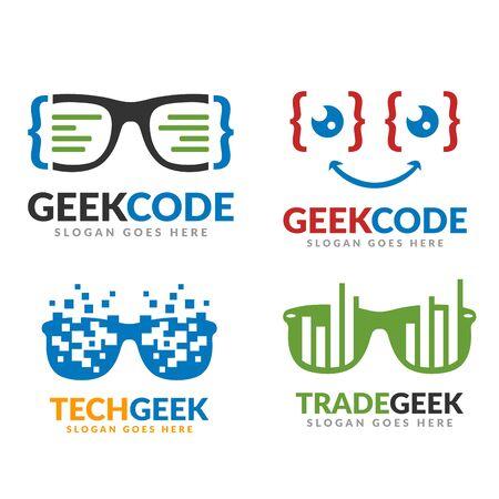 Set of code geek and tech geek and trade geek logo template