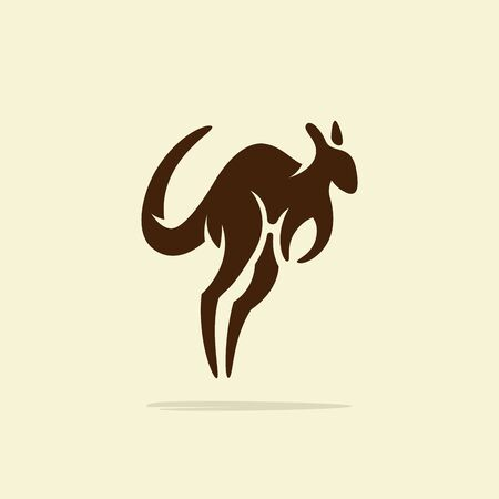 Flat minimalist Kangaroo logo design template, retro or vintage feel Stock fotó - 129794610