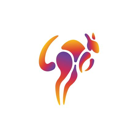 Modern gradient Kangaroo logo design template, colorful fun and dynamic Banque d'images - 129794612