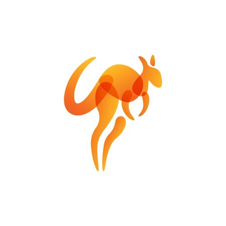 Orange transparency kangaroo logo design with overlap color style 写真素材 - 129794611