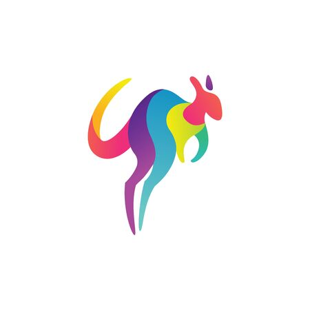 Colorful and dynamic Kangaroo logo design template, very modern feel