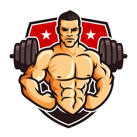 Logo template vector of Bodybuilder gym fitness theme, with muscle man character or mascot and barbell