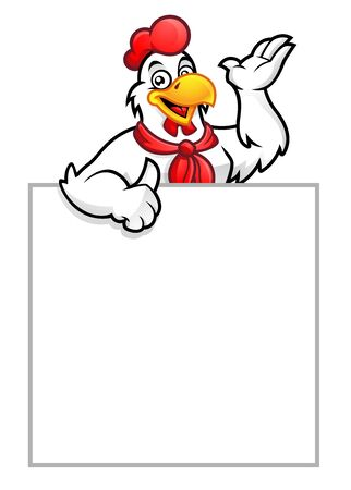 Chicken mascot or Rooster with blank sign