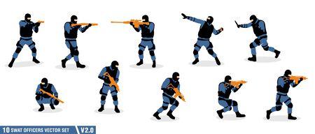 un ensemble de vecteurs de silhouette d'officiers swat