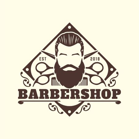 Vintage Barbershop logo template, retro style, with bearded man and barber tools